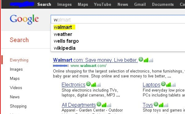 Google search auto suggestion - w - walmart