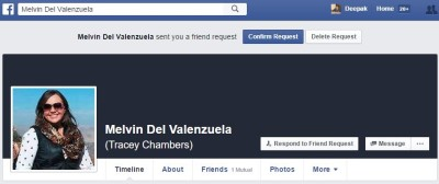 Fake facebook profile and friend request
